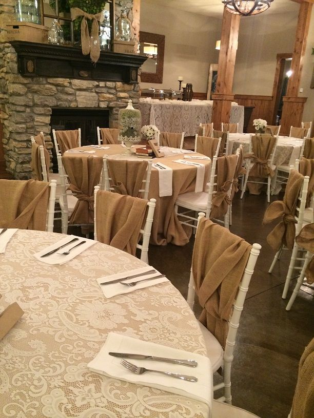 This Fundraiser At A Vinyard In Oregon Used Our Burlap Tablecloths With  Ivory Lace Overlays And