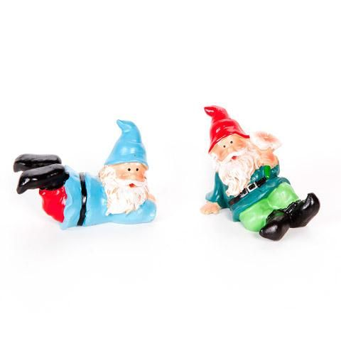 """Pack of 2 Mini Fairy Garden Gnome Figurines - 2-2.5"""" Long"""