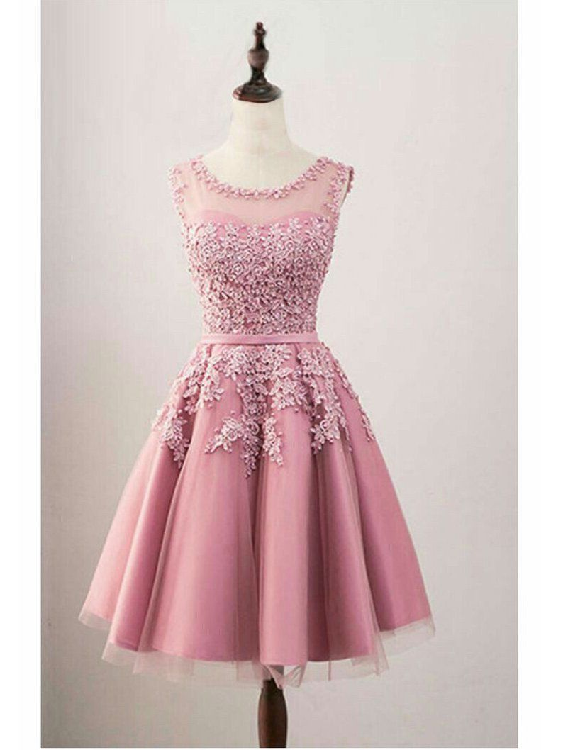 Dusty rose homecoming dresses see through back lace applique hoco