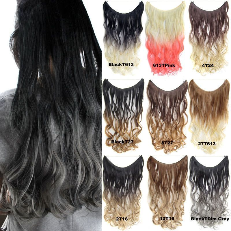 50g 22 Long Wave Ombre Fish Line Halo Hair Extensions Synthetic