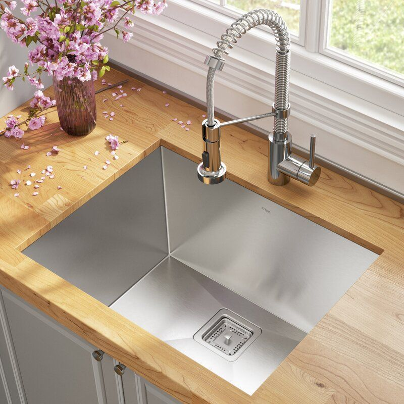 """Pax™ 24"""" L x 19"""" W Undermount Kitchen Sink with Faucet and"""