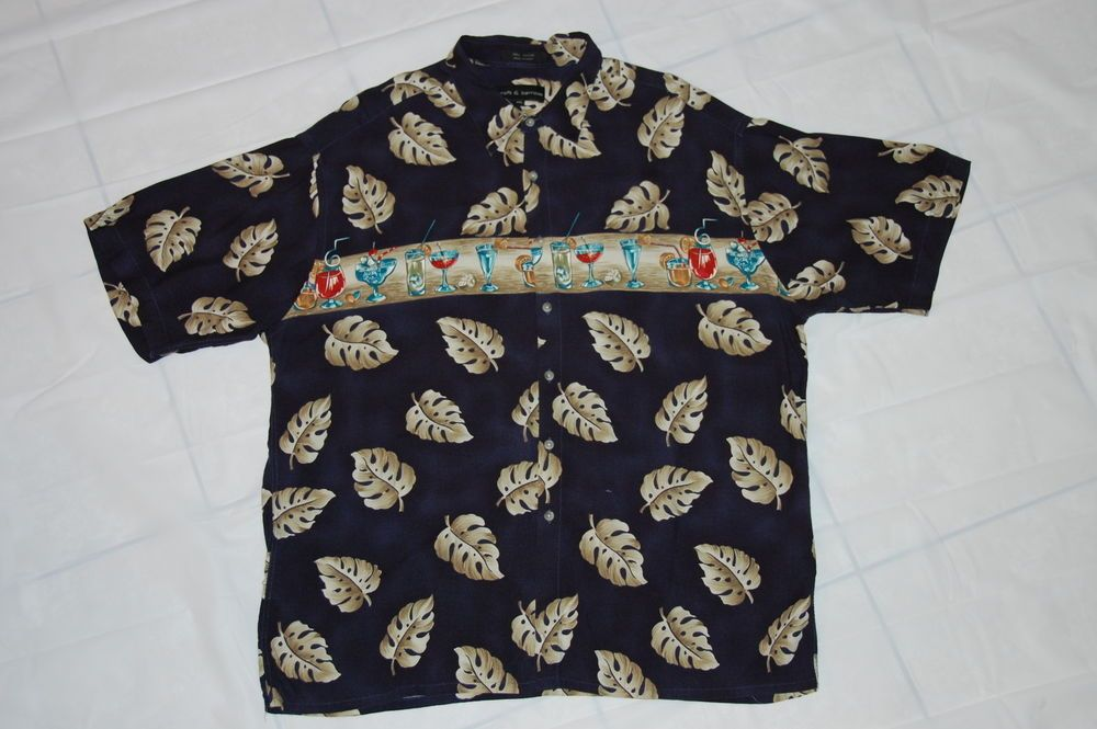 Mens Hawaiian Shirt Mixed Drinks Aloha Xxl 2x Croft Barrow