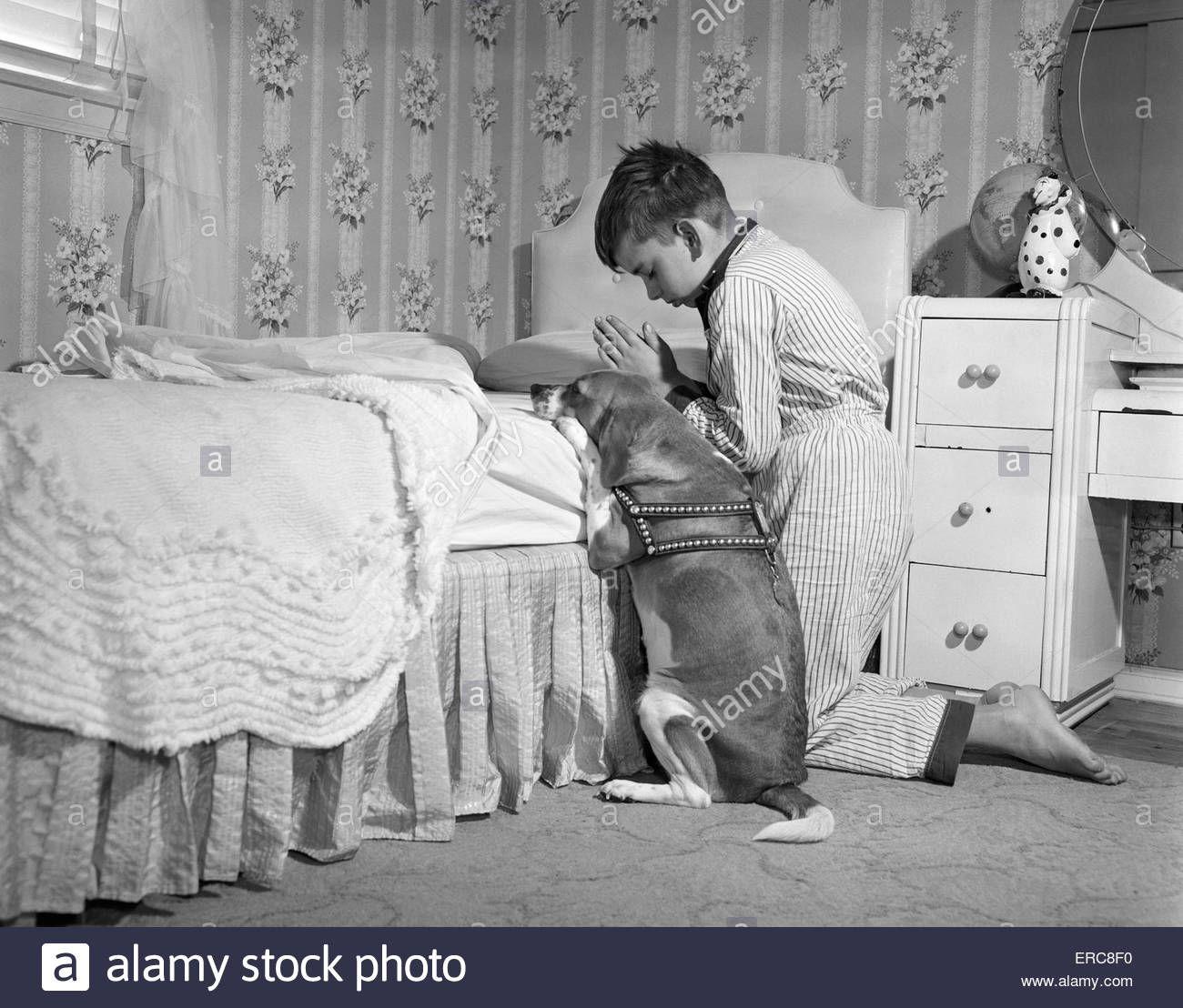 1950s Boy Amp Dog Praying At Bedside Days Of Old Days Of