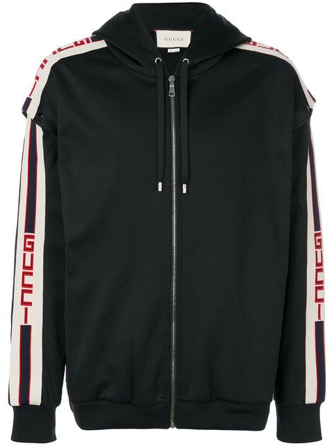 Gucci Detachable Sleeve Hooded Logo Jacquard Sweatshirt In Black Modesens Gucci Outfits Gucci Sweater Gucci Sweatshirt