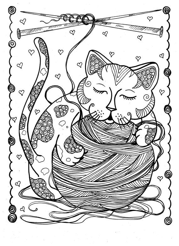 5 Pages Instant Download Coloring for Adults Fantasy Cats/digital ...