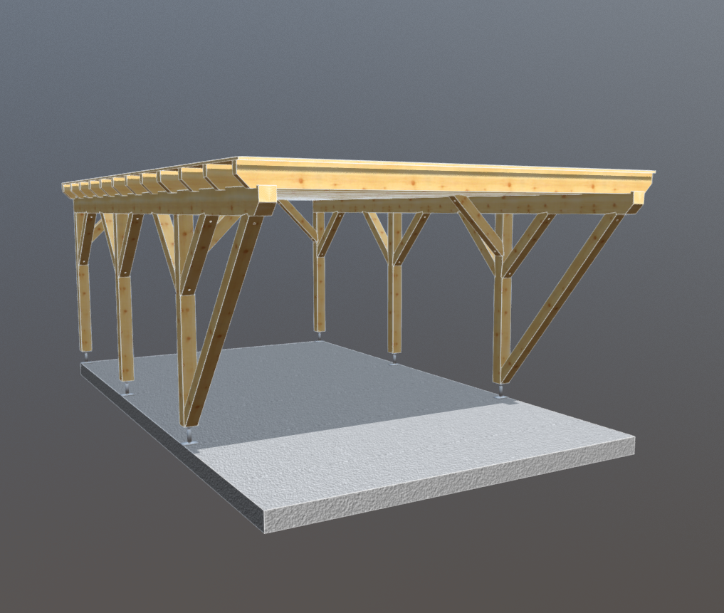 Holz carport 4m x 7m flachdach, carports aus polen, gartenhaus aus ...