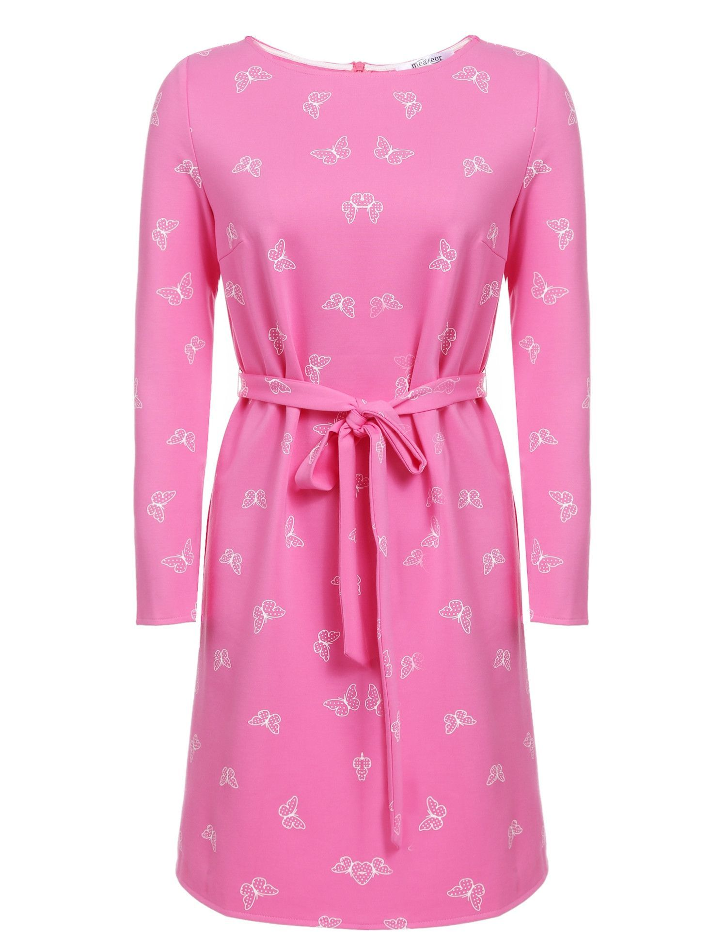 New women casual oneck long sleeve butterfly printing dress with