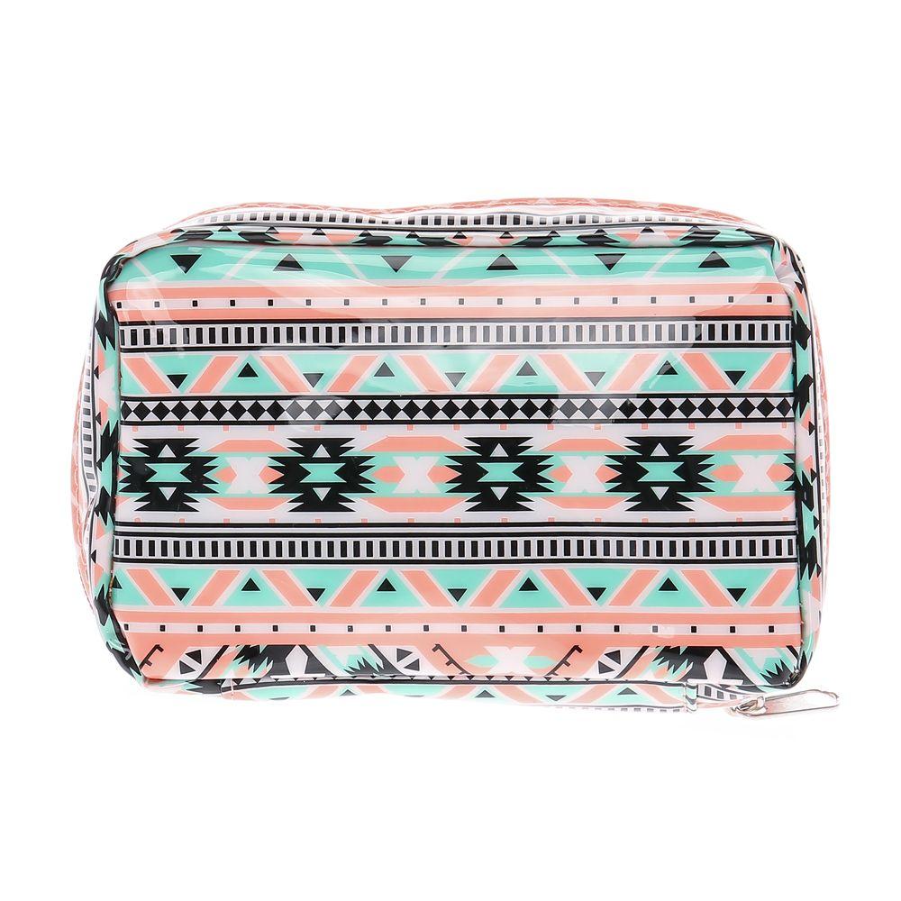 Turquoise and Coral Aztec Print Makeup Bag   Printed ...