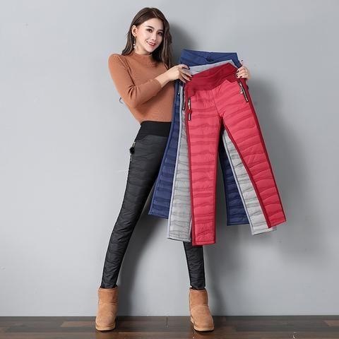 8895d0191f543 2018 New Women s Pants Elastic Waist Long Trousers Winter Down Pants Lady Plus  Size Outdoor Pants Female Warm Thick Pencil Pants