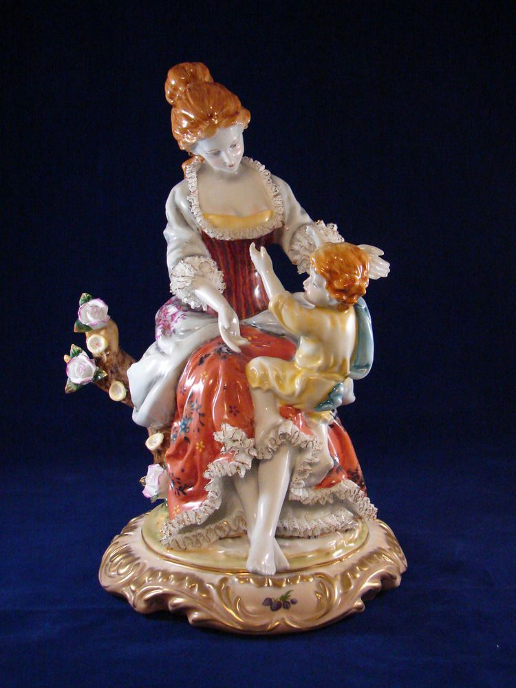 """Dresden German Porcelain Figurine Large Almost 12"""" Tall,  Perfect."""