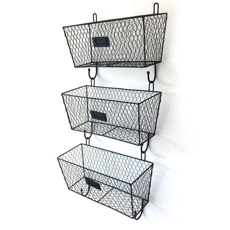 3 Piece Vintage Wire Letter Mail Mount Metal Rack Basket Triple Organizer Rack Ladder Baskets On Wall Wall File Metal Rack