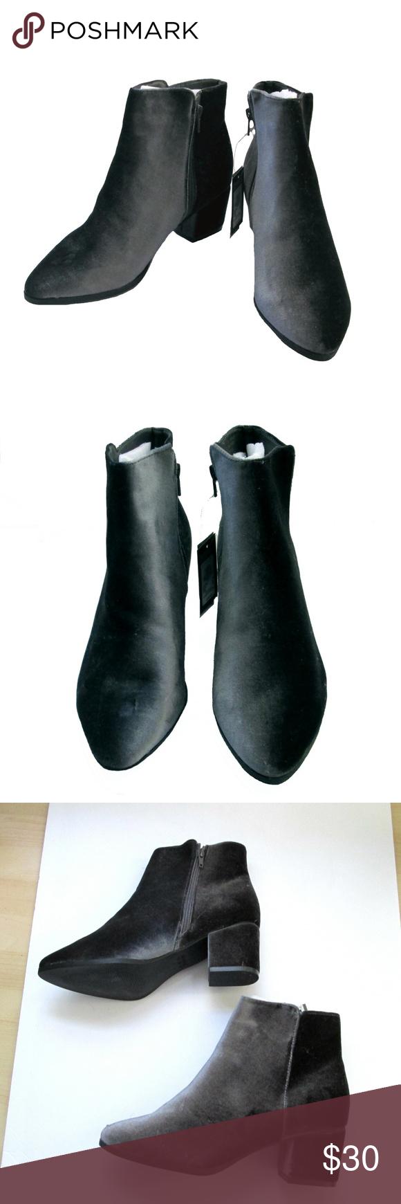 Primark Grey Velvet Ankle Boots Size