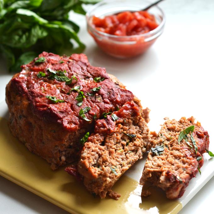 Tomato Basil Turkey Meatloaf Recipe Turkey meatloaf