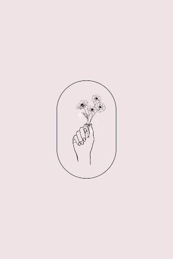 Botanical hands illustration, line art, sketch logo! - Microblading