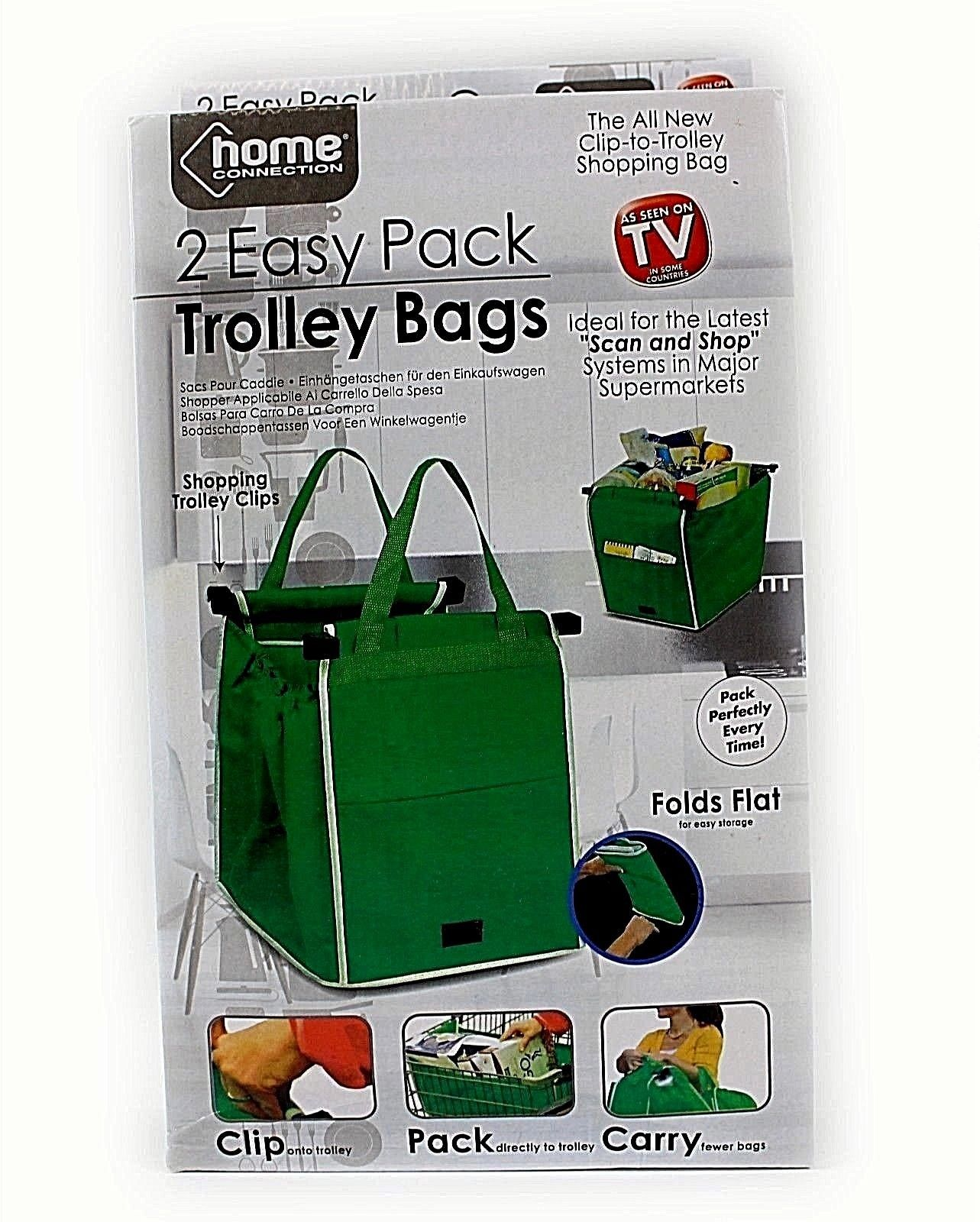 48c791bbeb72 £5.99 GBP - 2 X Foldable Reusable Supermarket Shopping Trolley Grocery Grab  Clips Bags  ebay  Fashion