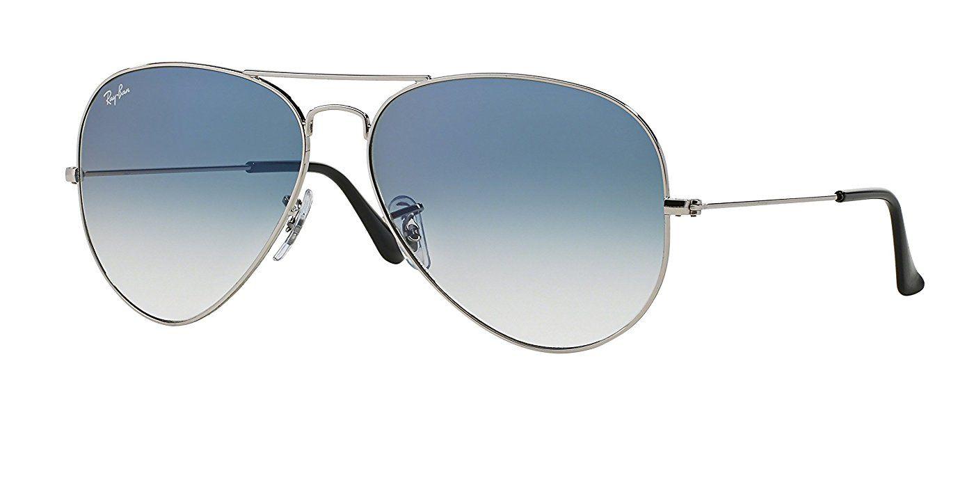 Ray Ban For Men Aviator Metal Silver Light Blue Gradient 55mm Rb3025 Sonnenbrille