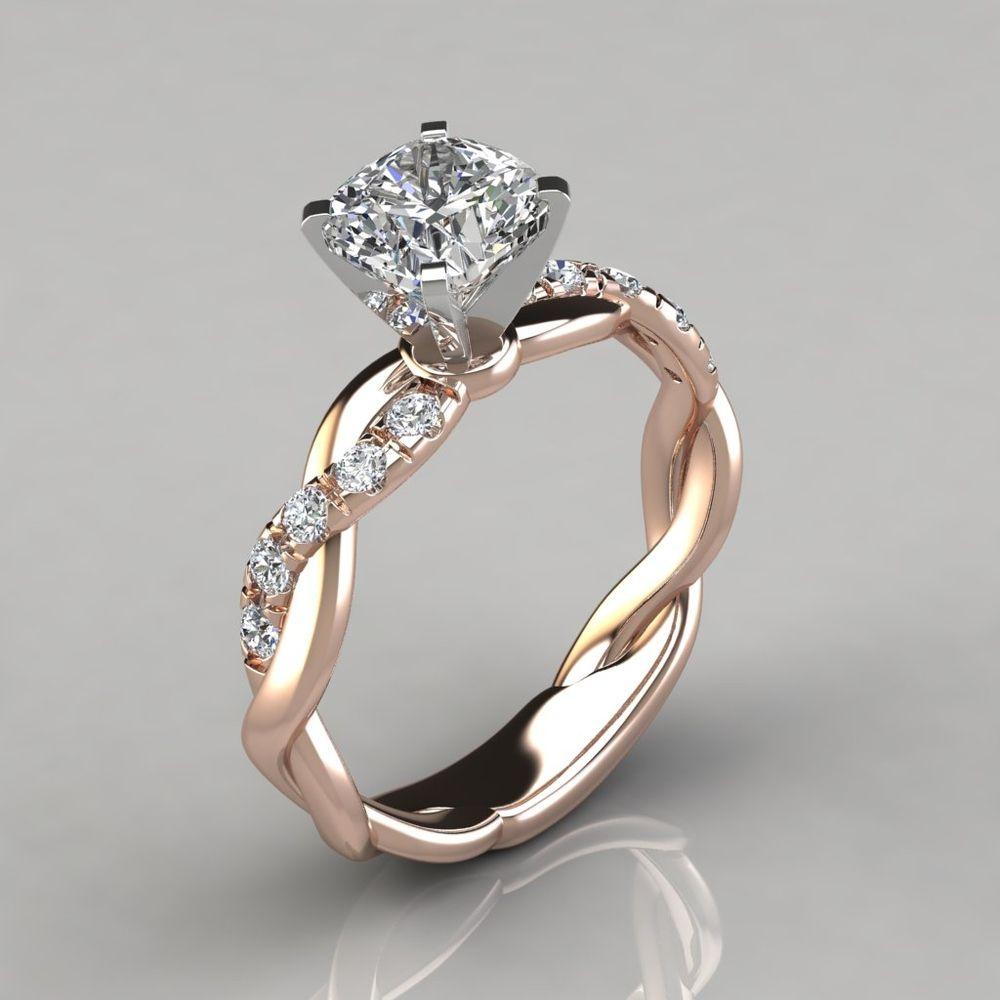 Twist Cushion Cut Engagement Ring