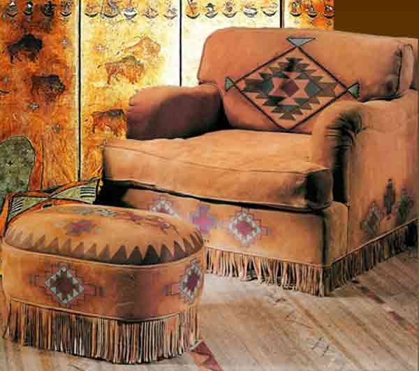 Hand Painted Deerskin Chair, Ottoman And Screen, From