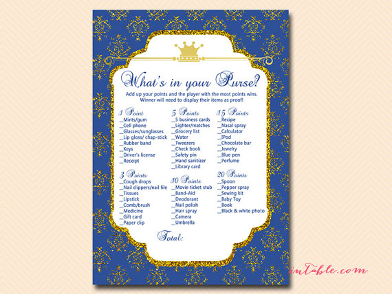 What S In Your Purse Baby Shower Game Printable Prince Baby Boy