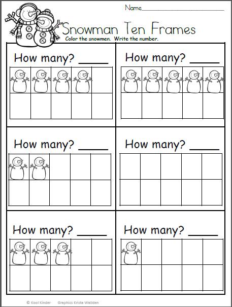 Snowman Math Worksheet Count And Write The Number Madebyteachers Winter Math Worksheets Snowmen Math Kindergarten Math