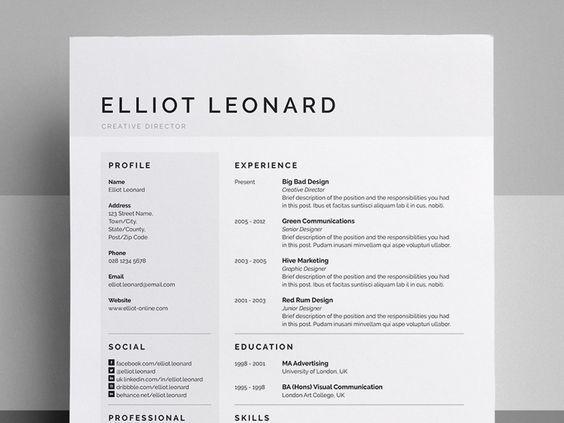 ResumeCv  Elliot  Resume Cv Resume Styles And Cv Resume Template