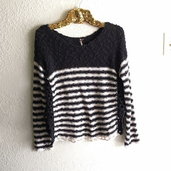 Free People Striped Crochet Sweater Navy sweater with split open sides. Good condition, no flaws to mention. Free People Sweaters Crew & Scoop Necks