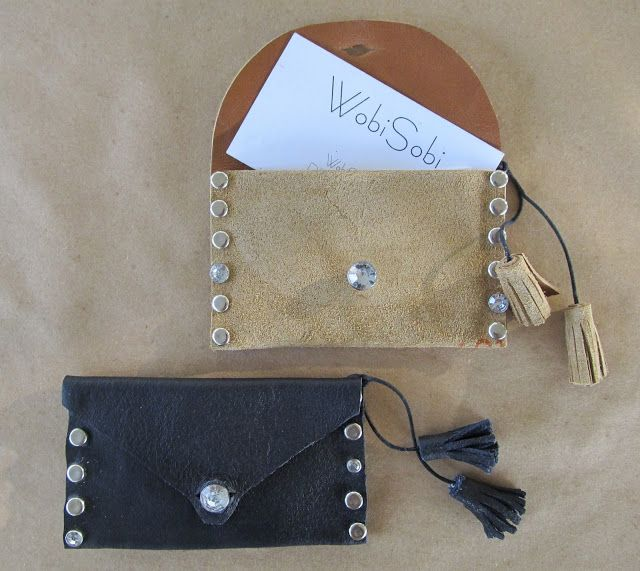 WobiSobi: Leather Business Card Holder: DIY    (DIY gifts, tassels, wallets, coin purse, homemade)