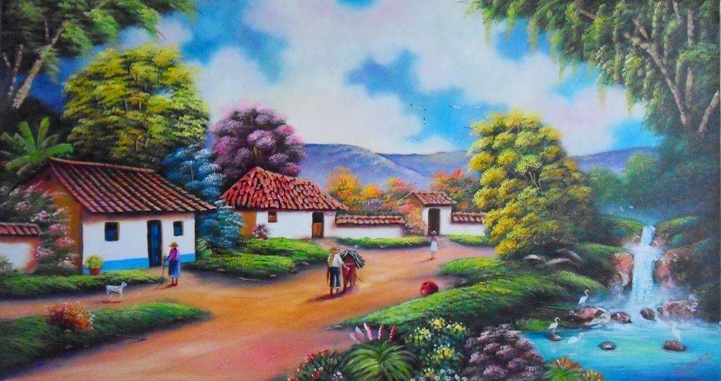 Pinturas de paisajes buscar con google dibujo y - Paisajes de casas ...