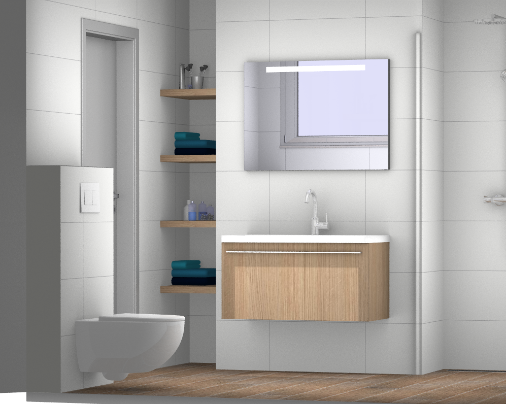Ontwerp met nis voor de kleine badkamer kleine badkamer for Badkamer zelf ontwerpen