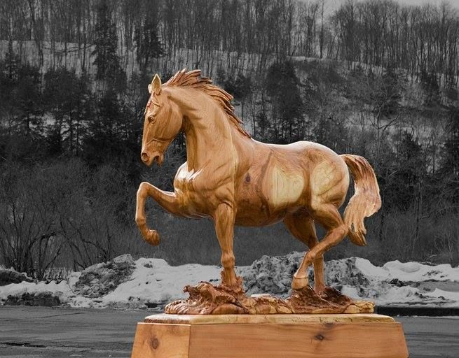 Horse carving by jeff samudosky wood carvings