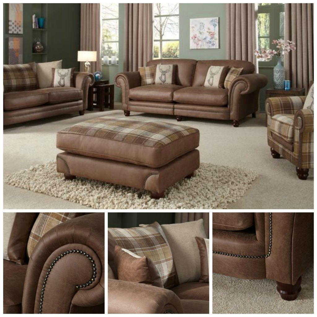 Downton Sofa Collection With A Leather Look And Tartan Scatter Cushions The Back