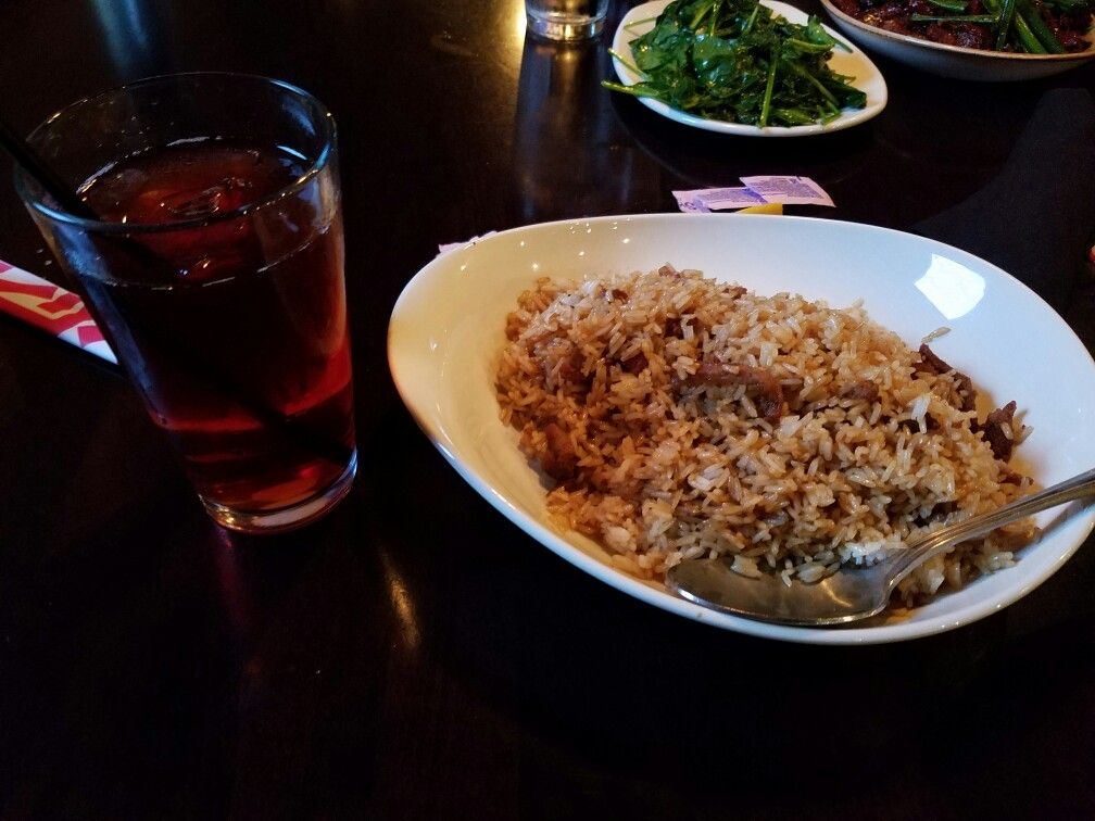 For my girlfriend Stephanie's 40th birthday, we had dinner at P.F. Chang's at the Promenade at Sagemore shopping center along NJ Route 73 in Marlton, New Jersey. This is my pork fried rice dish (with all vegetables and egg left out) and mango iced tea.