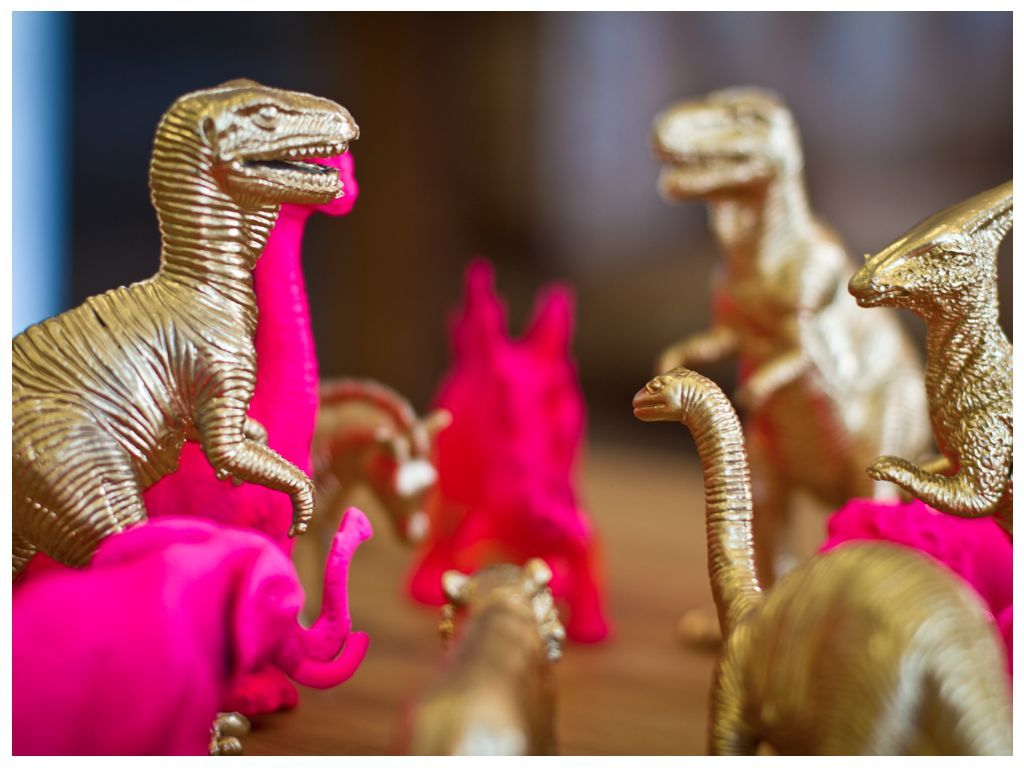 Amazing Neon Spray Paint For Plastic Part - 10: {Pink Gold} Love The Idea To Spray Paint Plastic Figures To Give Them The