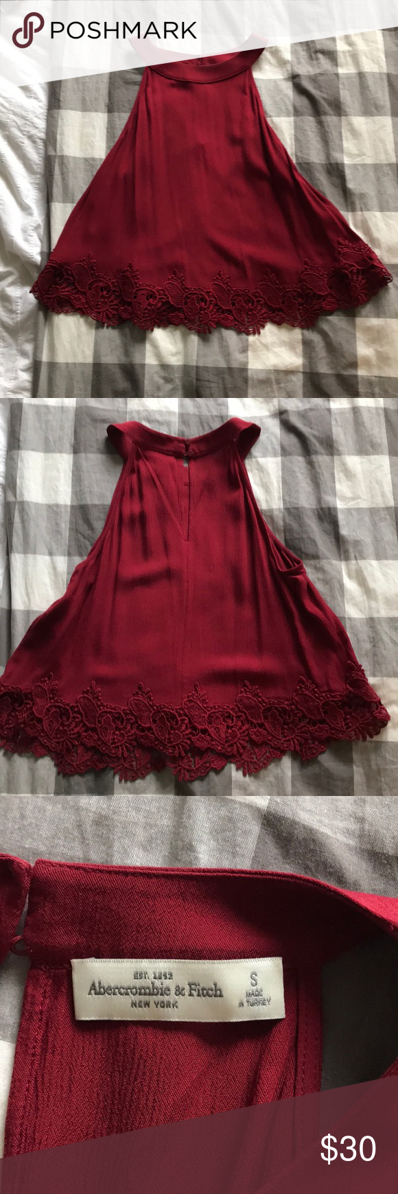 34ff55fadf5 Red lace trim crop top Cute red crop too with beautiful lace trip on bottom  and key hole detail on back Abercrombie   Fitch Tops Crop Tops