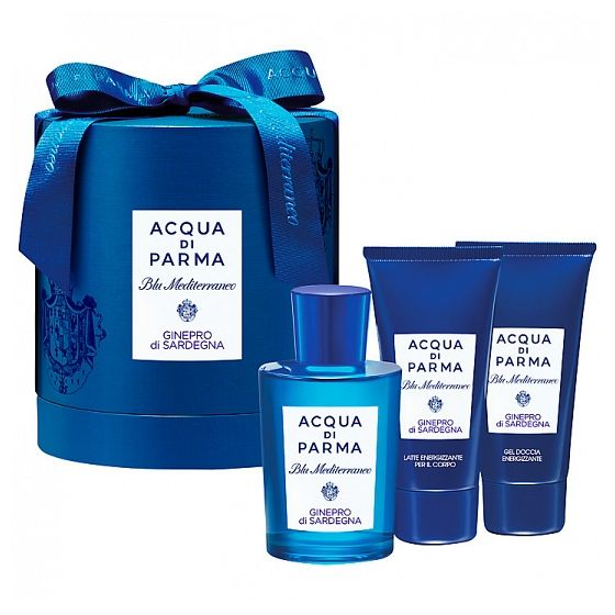 Acqua di Parma Blu Mediterraneo Ginepro di Sardegena Gift Set, Bask in the beauty of the Mediterranean coast with the beautifully presented Acqua di Parma Blu Mediterraneo Ginepro di Sardegena Gift Set.