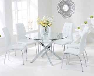 Mark Harris Daytona 120Cm Glass Round Dining Table With 6 Fascinating White Dining Room Table And 6 Chairs Decorating Inspiration