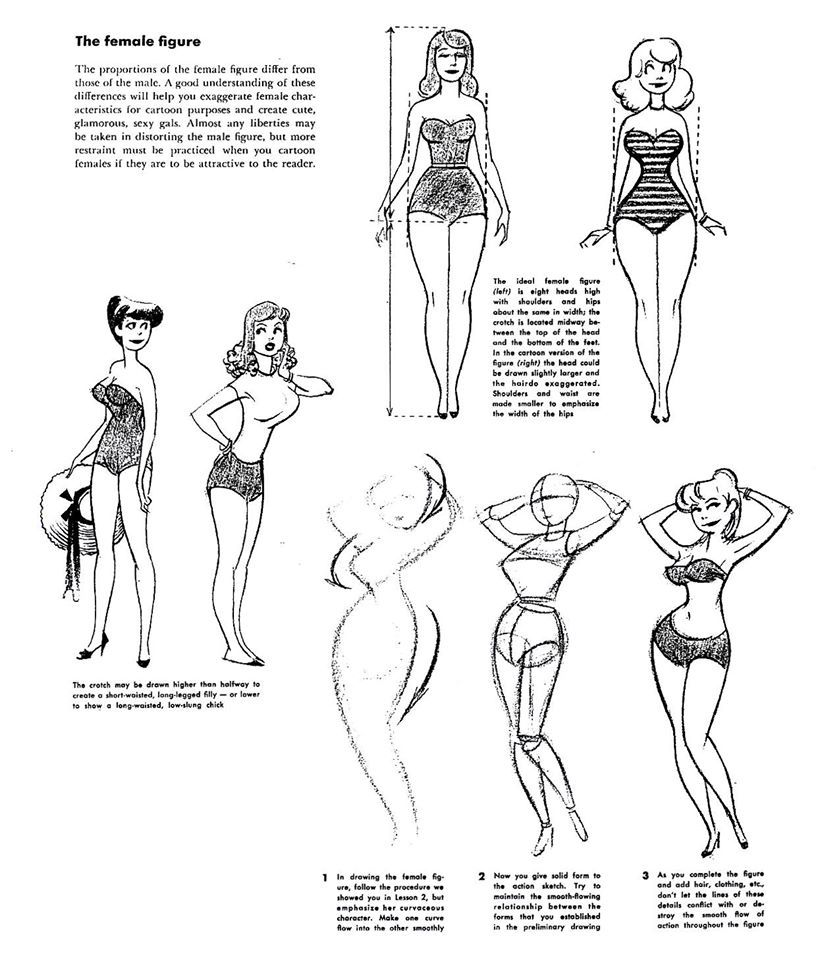 How to Draw Cartoons Classic tips on cartooning the female figure ...