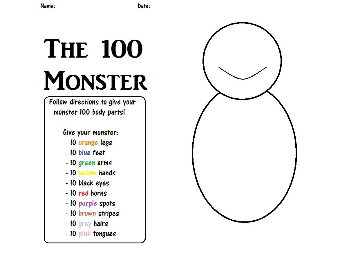 3 100 Day Math Worksheets 100th Day Of School 100 Monster 100 Day Of School Project 100th Day Of School Crafts 100 Days Of School