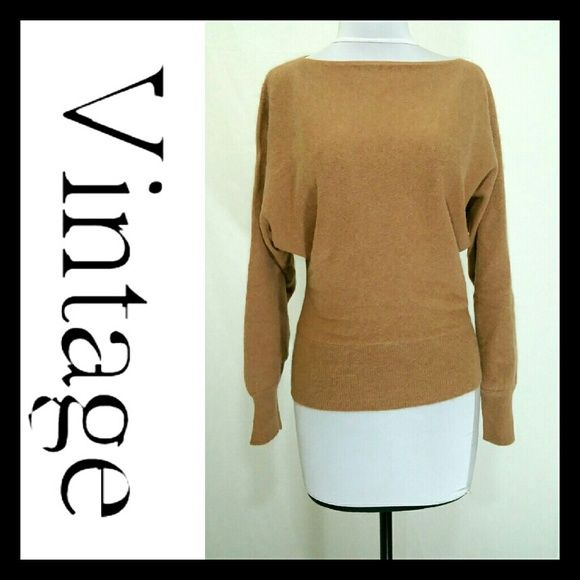 Vintage angora dolman sweater M Beautiful soft vintage sweater. No material tag but feels like angora or cashmere angora blend.  Camel tan color.  Bust is approximately 40 inches  Length is 23 inches.  Excellent condition.  No stains or holes.  Smoke free home vintage  Sweaters