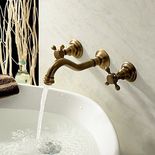 Photo of Chester Classic Wall Mount 2-Handle Antique Brass Bathroom Sink Faucet with Cross Handles
