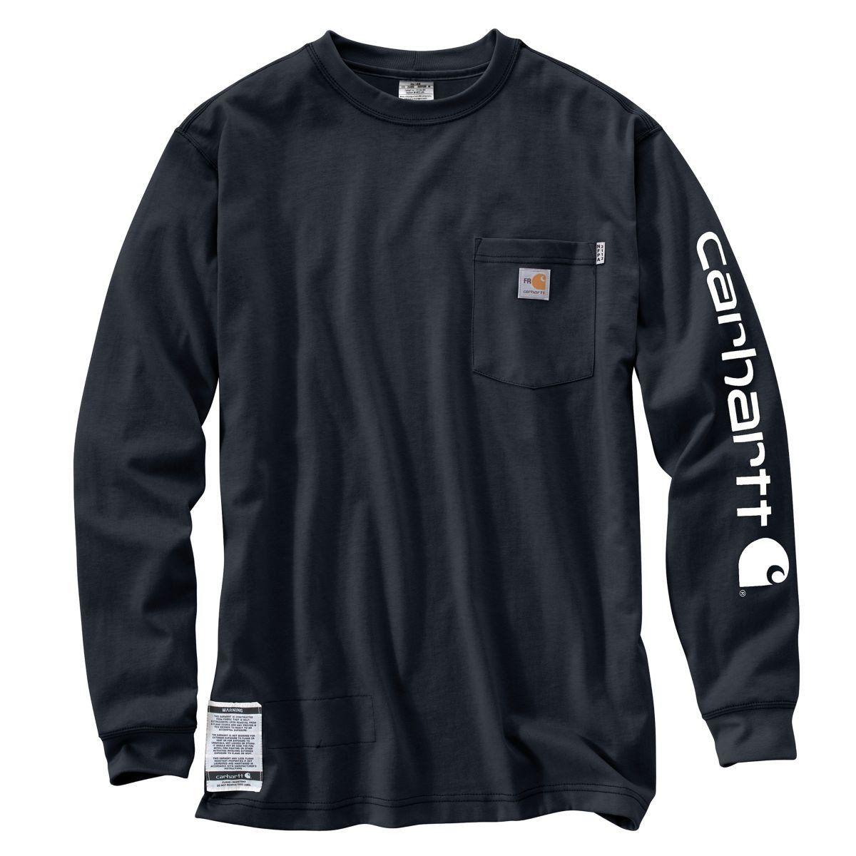 Carhartt Men S Dark Navy Flame Resistant Force Cotton Graphic Long Sleeve T Shirt Carhartt Shirts Work Shirts