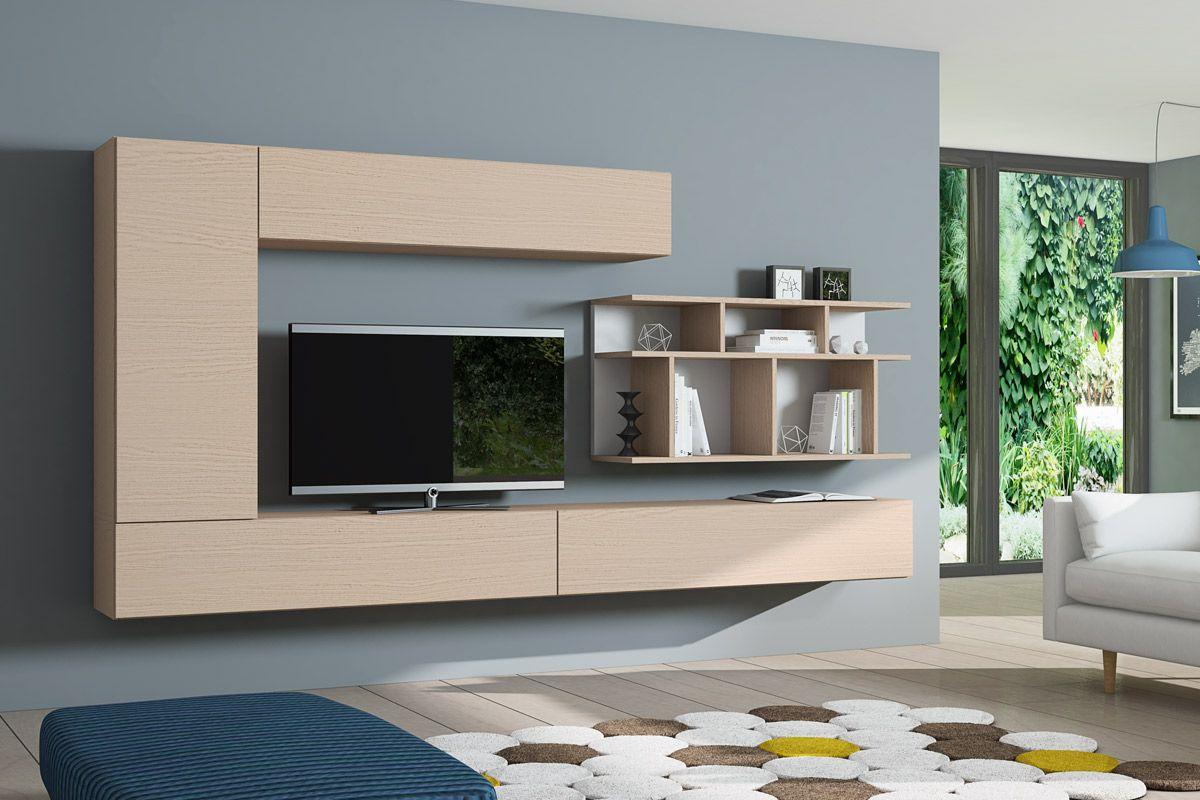 Salón comedor moderno y modular, compuesto de módulos de colgar y ...