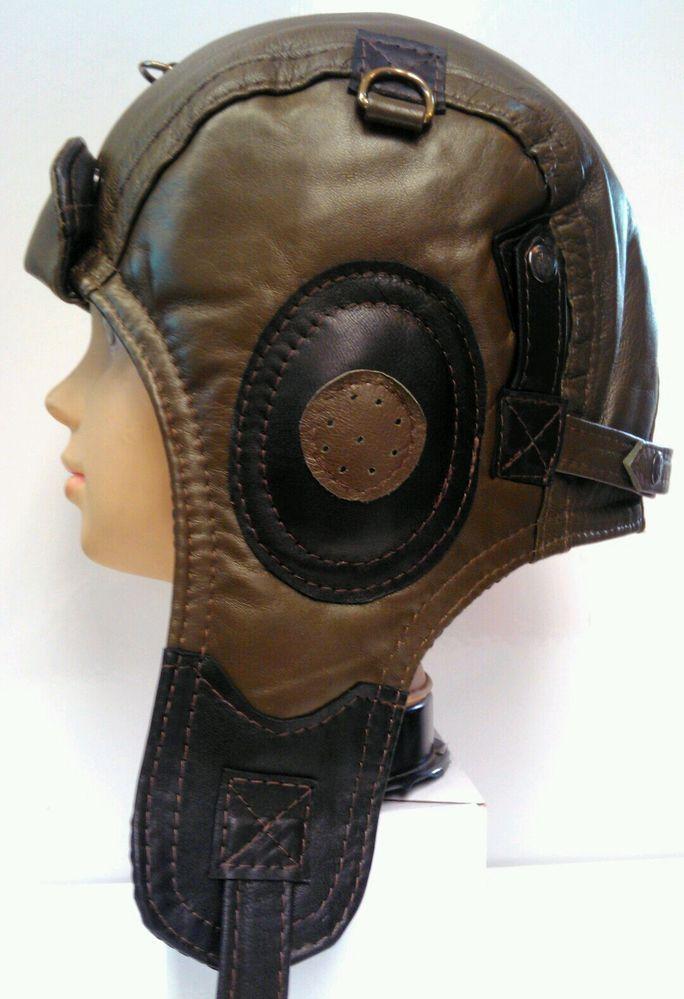 25b0ae1b WWII Handmade Genuine Leather Aviator, Pilot,Motorcycle Helmet Hat Cap XXL  size