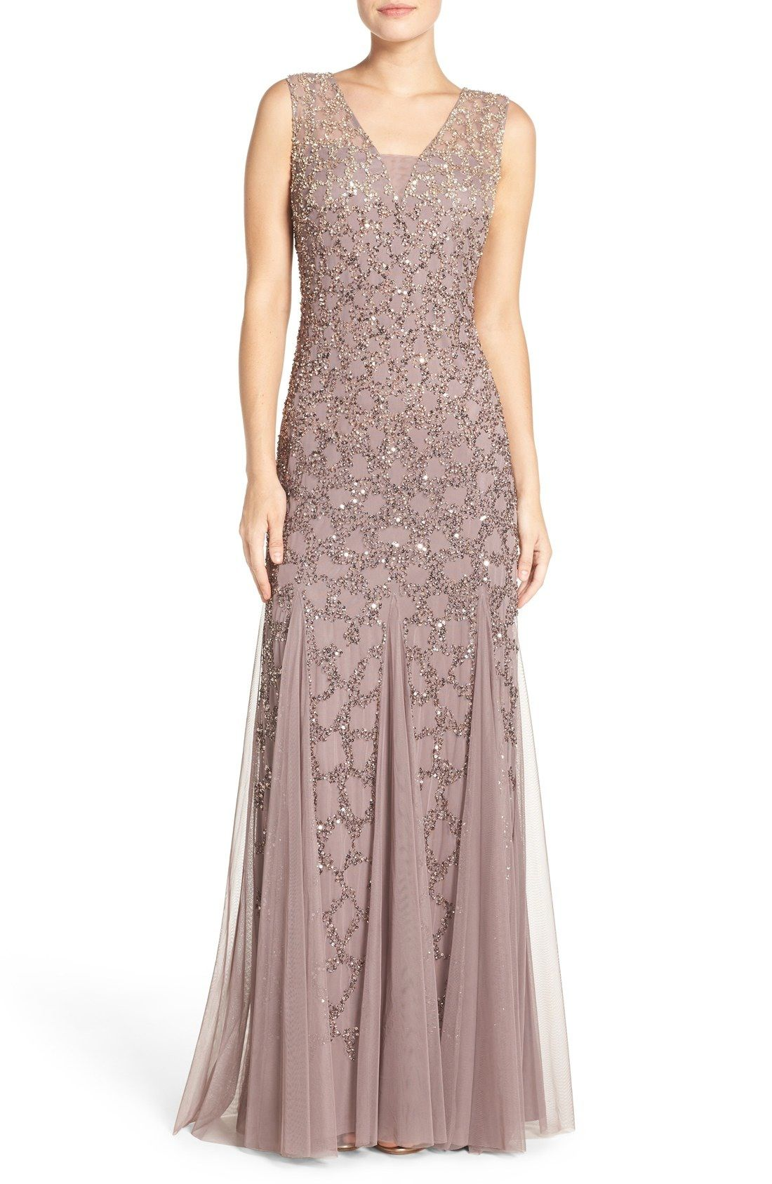 Adrianna Papell Pleated Beaded Gown available at #Nordstrom ...