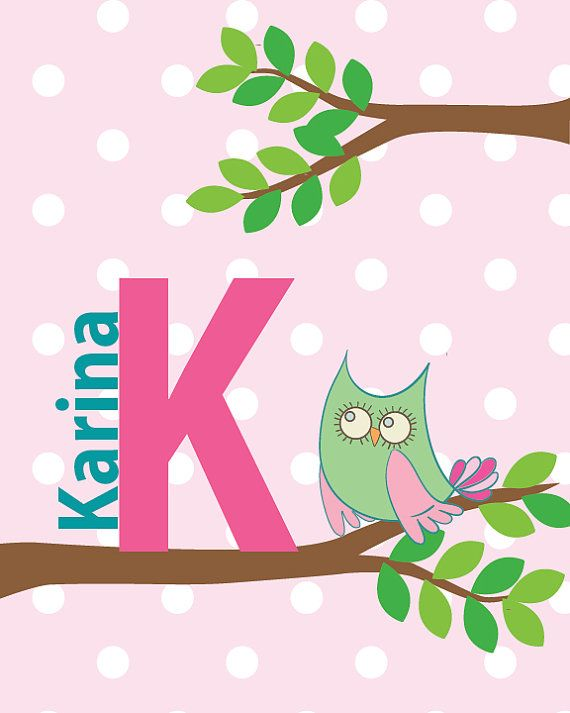 DIGITAL, PERSONALIZED owl print.  Custom print with girl's name and initial.  Great as a Baby Shower Gift. Green and Pink with polka dots.