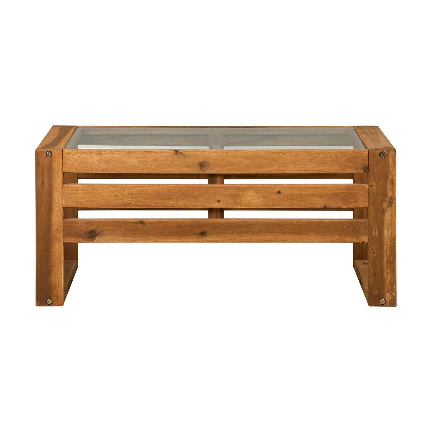 Walker Edison Hudson 36 X 20 Inch Rectangular Acacia Patio Coffee Table By Owosctbr Glass Top Coffee Table Coffee Table Rectangle Solid Wood Coffee Table