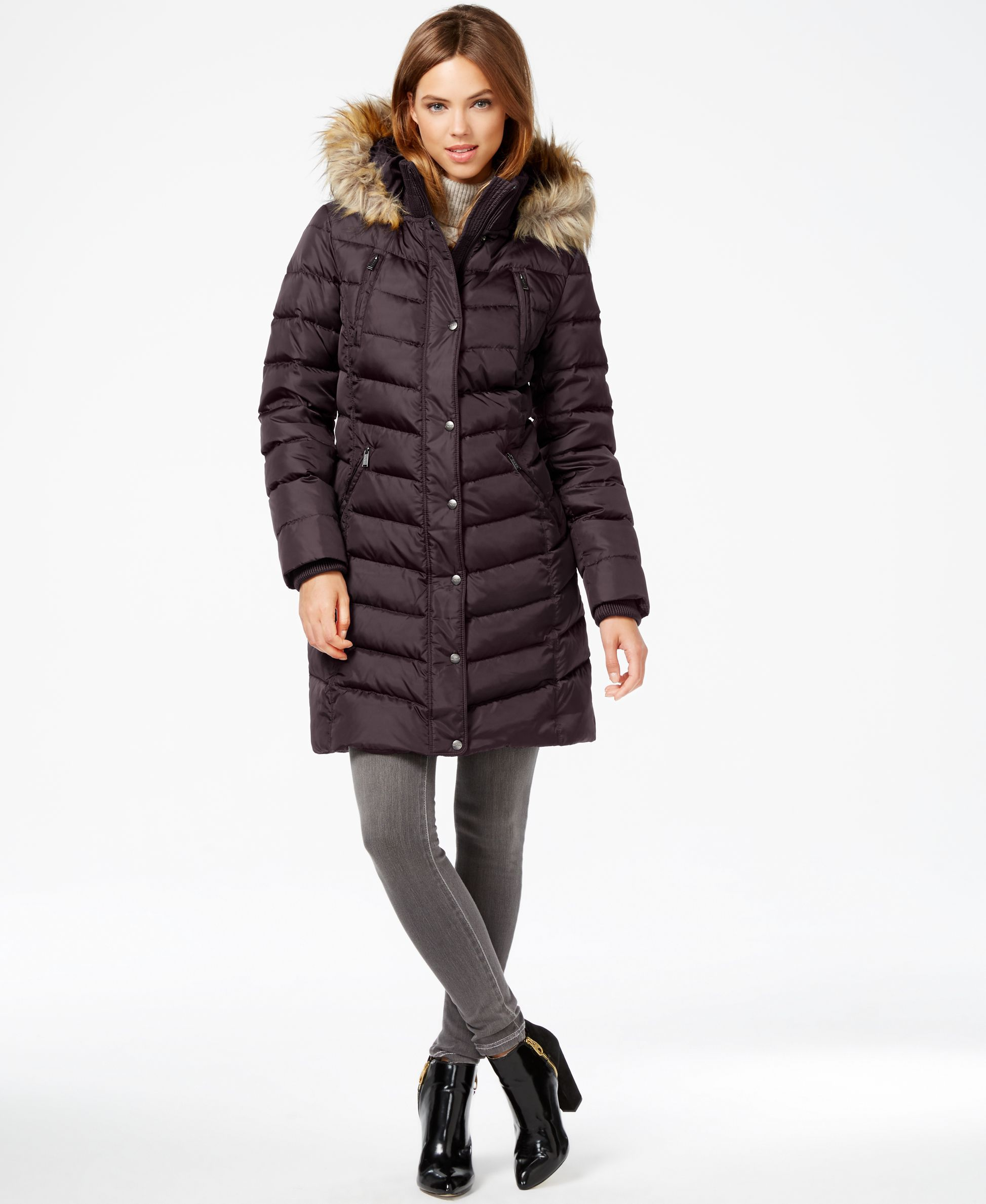 a16341902 Dkny Faux-Fur-Trim Hooded Down Puffer Coat | Products | Down puffer ...