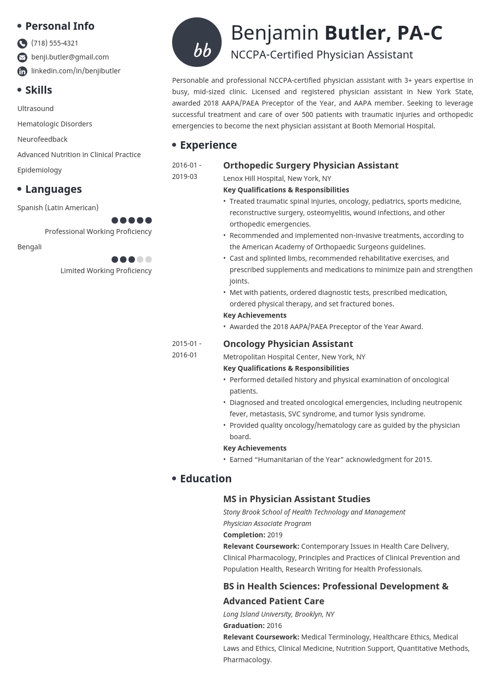 physician assistant resume example template initials in