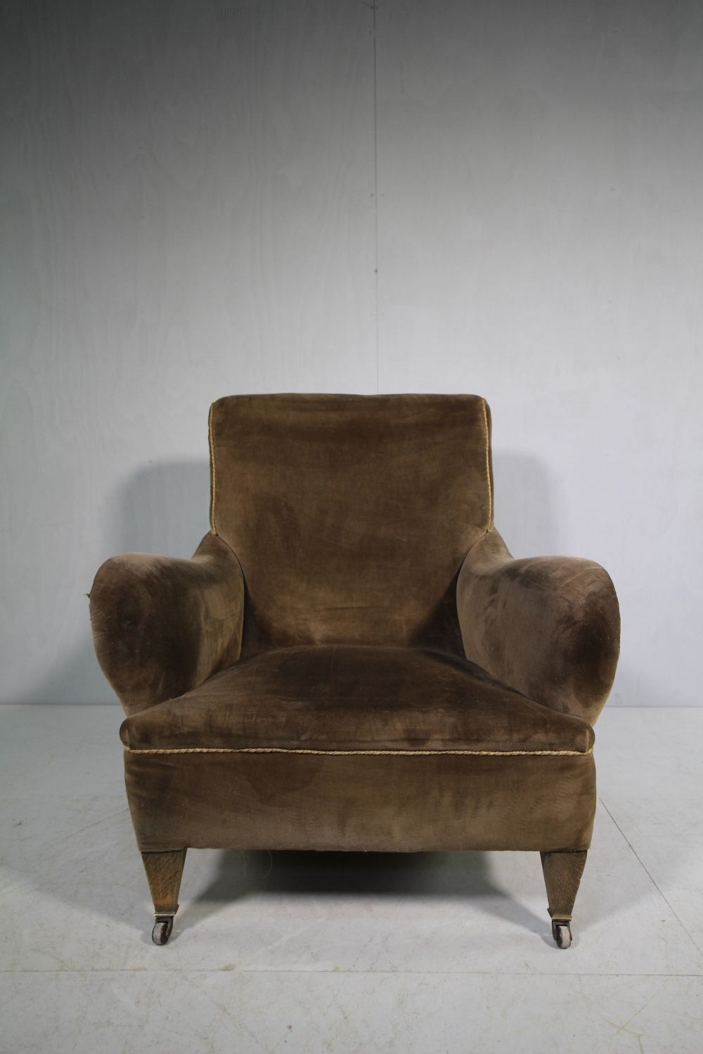 Shapely English Antique Upholstered Armchair Upholstered Arm