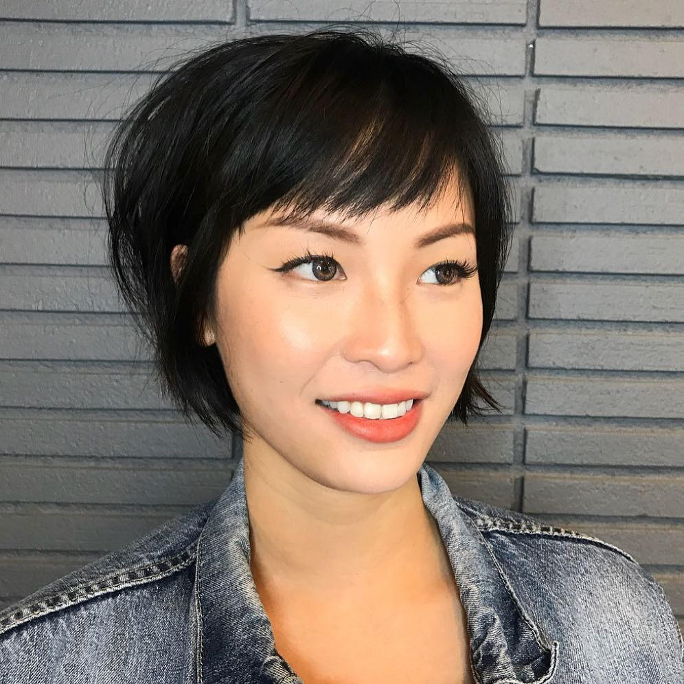 Black Undercut Bob with Choppy Graduated Layers an
